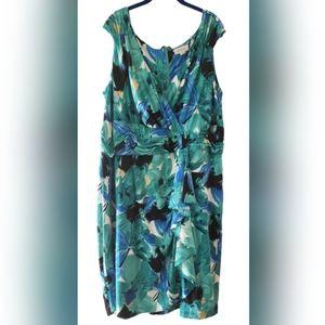 AVENUE Blue Green Sleveless Floral Dress Ruffle